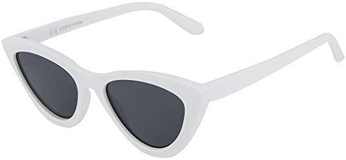 La Optica B.L.M. UV400 CAT 3 CE Damen Sonnenbrille Cateye Sonnenbrille - Einzelpack Glänzend Weiß (Gläser: Grau)_LO25 B-White