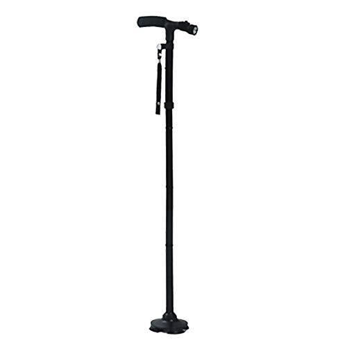 Heaviesk Magic Cane Faltbarer Gehstock mit LED-Licht, 4 Kopf, schwenkbar, Trusty Base für Old Man T Lenker Trekkingstöcke - Quad Faltbare Cane