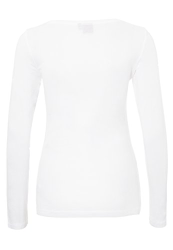 Sublevel Damen Pailletten Longsleeve mit Peanuts Motiv | Basic Langarmshirt mit Rundhals-Ausschnitt Einfarbig | Comic Shirt white1