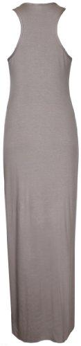 Purple Hanger - Robe Femme Maxi Longue Dos Nageur Sans Manche Encolure Ronde Extensible Uni Grande Taille Neuf Café