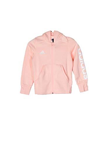 adidas Mädchen Linear Full Zip Hooded Kapuzen-Jacke, Haze Coral/White, 164