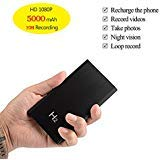 KAMRE HD 1080P 5000mAh Portable Hidden Power Bank Camera Nanny Cam, 10 Hours