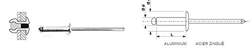 100 Rivets aveugles standards Alu/Acier Tête Ronde Standard 6.4X200 (BOITE DE 250) DEGOMETAL 103 164 201