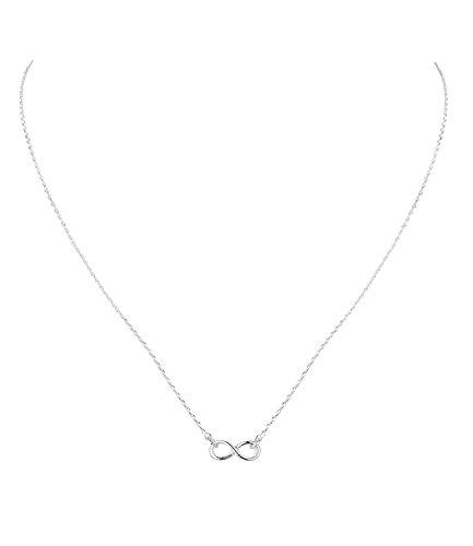 SIX Statement Kette Infinity: Filigrane Halskette mit Unendlichkeitszeichen als Anhänger, silberfarben, Geschenkidee für besondere Menschen (741-277)