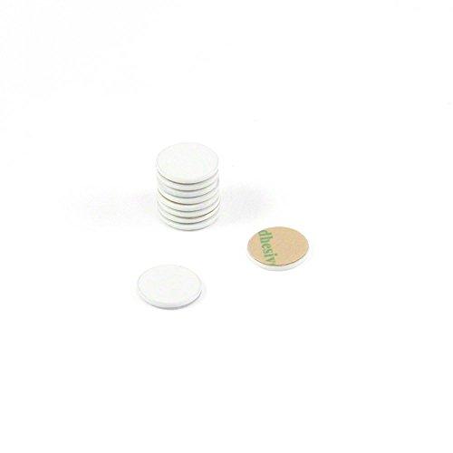 Magnet Expert 10mm Dia X 1mm Dick Weiß lackiert Stahl Disc mit 3M selbstklebend (10Stück) -