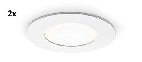 Lot de 2 Panneau LED rond avec 4 W Puissance, encastrable, blanc neutre, 8,6 cm - type : Economy r4086nw