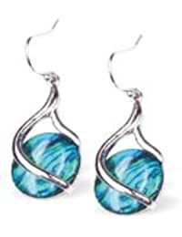 Natural Abalone Paua Shell Coquille Drop Earrings - rhodium plated (P277)