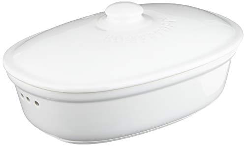 Römertopf Ovaler Brottopf, Medium, Keramik, Weiß, 30 x 21 x 15 cm