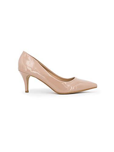 Zapatos Mujer Tacon Elegante De Charol Nude