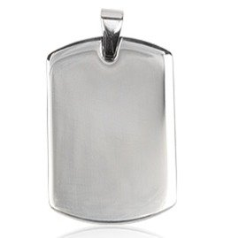 "Plain Dog Tag Pendant - Size: 3.1cm x 2.3cm (1.2"" x 0.9"") Silver Stainless Steel (will not tarnish/fade) Clasp hole appx 5mm - Supplied in Gift Pouch by Katy Craig"