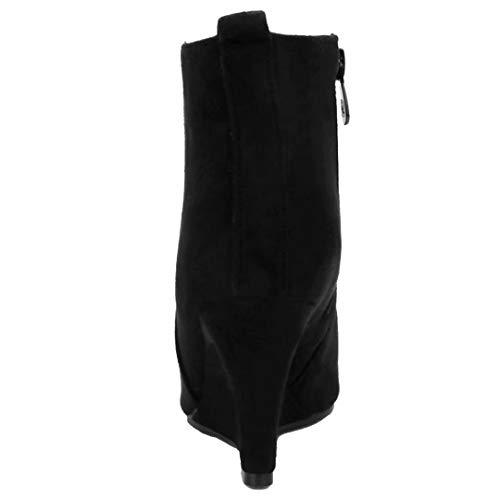 Bild von AIYOUMEI Damen Wildleder Keilabsatz Stiefeletten mit 8cm Absatz Bequem Wedge Ankle Boots Warm Winter Keilstiefel