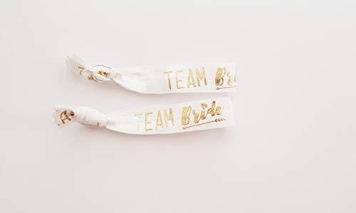Team Bride - Armbänder/Haargummis weiß gold - 2er Set