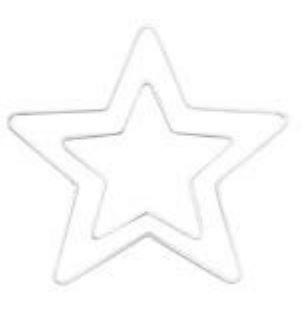 GLOREX étoile, métal, en métal, 1 unités, Métal, Weiß, 25 x 25 x 0.5 cm