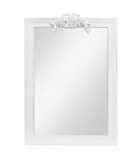 Specchiera di legno bianca con fregio centrale stile vintage L'ARTE DI NACCHI AD-207