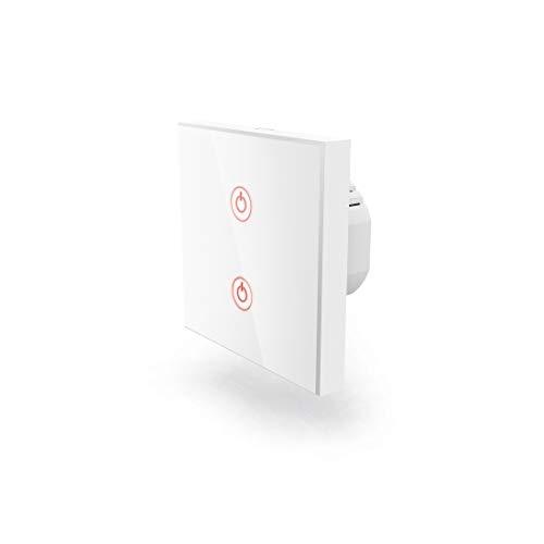Hama Wi-Fi Touch Lichtschalter, kompatibel mit Alexa/Google Home (Unterputz, ohne Hub, Timer, App-/Sprachsteuerung (z.B. Echo Dot), 2 Lampen steuerbar, 2,4GHz, IFTTT) WLAN Glas Wandschalter