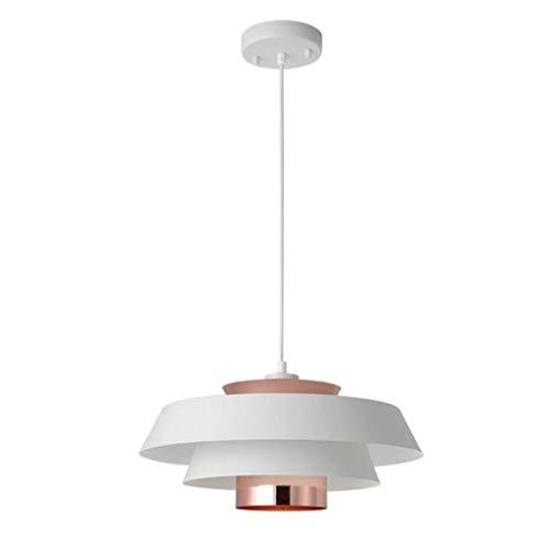 QHY Esszimmer Pendelleuchte Moderne Minimalistische Hängelampe Anhänger Wohnzimmer Schlafzimmer Lampe Bar Café Lampe Höhenverstellbar E27 Kronleuchter Max: 40W 40 * H21Cm,Weiß,A -
