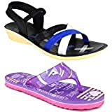 Axter Women Multicolour Latest Collection Stylish Sandal & Slippers-Pack of 2 (Combo-(2)-1179-969)