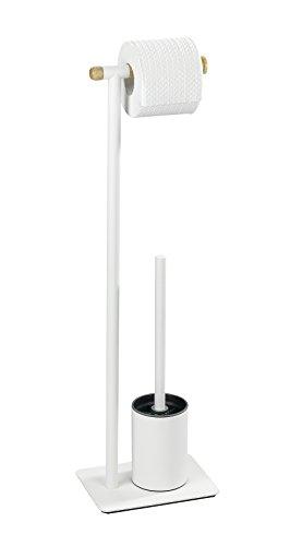 Wenko 22511100 Combiné WC Macao, Acier Inoxydable, Blanc, 16 x 10 x 69 cm