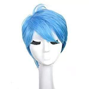XISAY Blaue Kurze Wellenförmige Mode Haar Für Erwachsene Anime Cosplay Kostüm Haar Sexy Lady Volle Perücke Natürliche Farbe Hitzebeständige Günstige Für Party Perücken Täglichen Kleid Hohe Dichte XISA