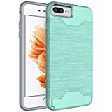 iPhone 7Handy Fall 11,9cm (2016) caserbay Dual Layer Kreditkarte Slot Pocket Ständer Slim Fit Brushed Metall Design Armor Rugged Heavy Duty Case Cover, Mint for iPhone 7 4.7
