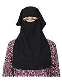 PureGaze Double Naqaab Black Colour for Women (Free Size)