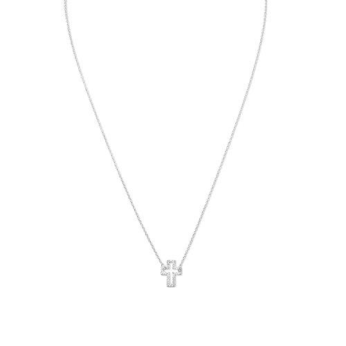 40,6cm + 5,1cm Erweiterung Sterling Silber Halskette 9mm x 12mm Cut Out seitwärts Zirkonia Kreuz (9mm-erweiterung)