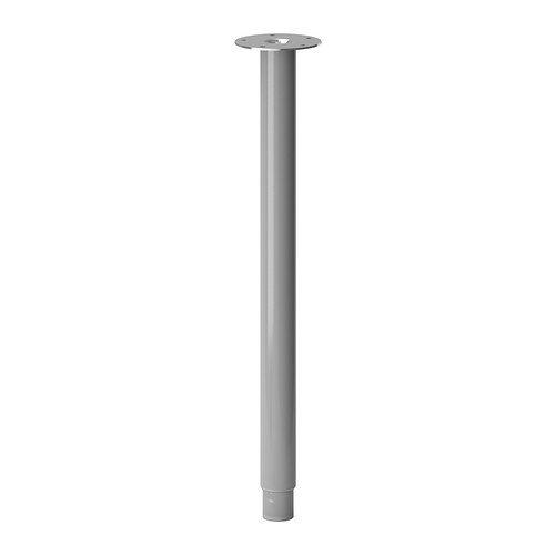 """IKEA Tischbein \""""OLOV\"""" Bein aus Stahl - farbig lackiert - verstellbar zwischen 60 und 90 cm - mit Schutzkappe für Boden und INKL. Schrauben für Tischplatte (silber)"""
