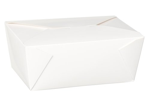 THALI Outlet Leeds® - 80 x No4 weiß 98oz quadratische Papier Lebensmittel containers- Hot Reis Curry Takeaway Boxen