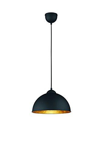 Innen-hängeleuchte (Reality Leuchten Pendelleuchte Hängeleuchte, 1 x E27 ohne Leuchtmittel, Durchmesser 31 cm, Außen schwarz, Innen gold-farbig, R30121002)