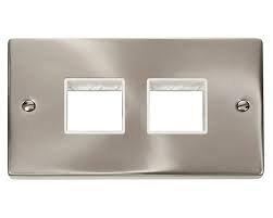 Click Deco vpsc404wh cromo satinato, 2Gang Piastra modulare 2+ 2aperture Inserto Bianco