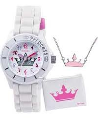 Tikkers Girls White Crown Watch Purse And Necklace Gift Set ATK1009