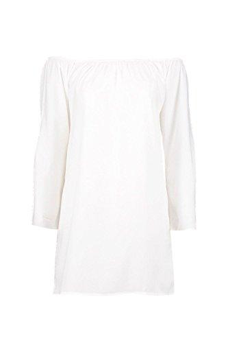 blanc Beatrix Robe Droite À Manches Évasées Et Épaules Dénudées Blanc