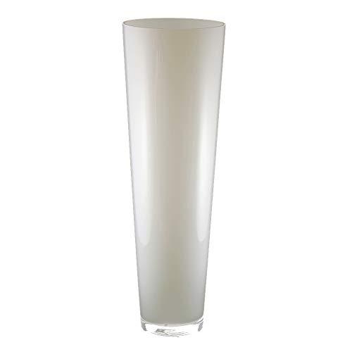 Glasvase konischer Zylinder weiß 70cm Ø 22,5cm. Bodenvase Glas groß Vasen deko groß modern Glasvase rund als Blumenvase groß Bodenvase weiß in Opal-Glas von Glaskönig
