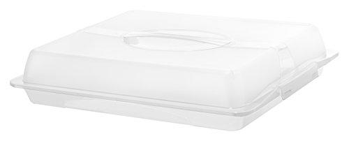 Rotho 1748301100 Partybutler Partycontainer John XL aus Kunststoff mit Deckel und Tragegriff BPA- und schadstofffrei Plastik 47,5 x 39 x 9,8 cm, Transparent/weiss