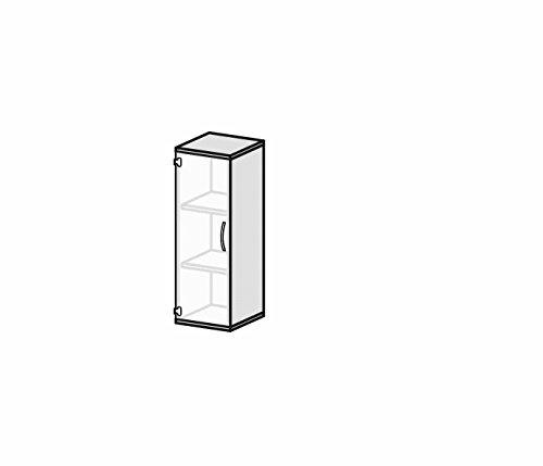 Flügeltürenschrank mit satinierter, rahmenloser Glastür, 2 Dekor-Einlegeböden, nicht abschließbar, Griff rechts, 400x425x1152, Ahorn