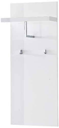 Robas lund sydney 52129w1 - pannello appendiabiti da parete, colore: bianco lucido, ganci cromati, dimensioni: 51 x 121 x 25 cm
