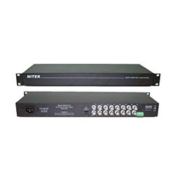 FSS21611S NITEK, Sixteen Channel Fiber Optic CCTV System - Real time digitally encoded video - Complete System, includes 16 Channel Transmitter and Receiver Units - Supports RS-422 and RS485 data protocols - Distances up to 20Km in single mode transmission - Transparent to the Network, no setup required - LED indicators for power and link status (System Transmission Fiber)