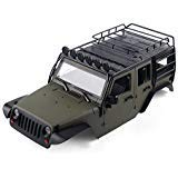INJORA RC Auto Karosserie 313mm Radstand Jeep Wrangler Rubicon Car Shell mit Metal Dachträger für 1/10 RC Crawler Axial SCX10 90046 (Oliv)