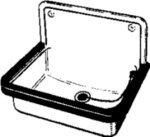 Stahl-Ausgußbecken 50 cm ohne Überlauf
