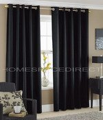 Black Faux Silk Eyelet Curtains 90×90 – Fully lined by Homespace Direct