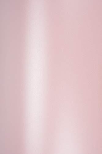 100 x Perlmutt-Rosa 120g Papier DIN A4 210x297mm Majestic Petal metallic glänzend Perlglanz Pearl-Karton für Hochzeit, Geburtstag, Taufe, Weihnachten, Einladungen, Visitenkarten