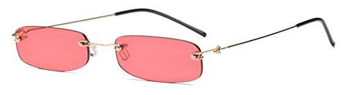 Sonnenbrille Schmale Sonnenbrille Männer Randlose Klar Rot Sommer Rot Blau Schwarz Rechteckige Sonnenbrille Für Frauen Kleine Gesicht