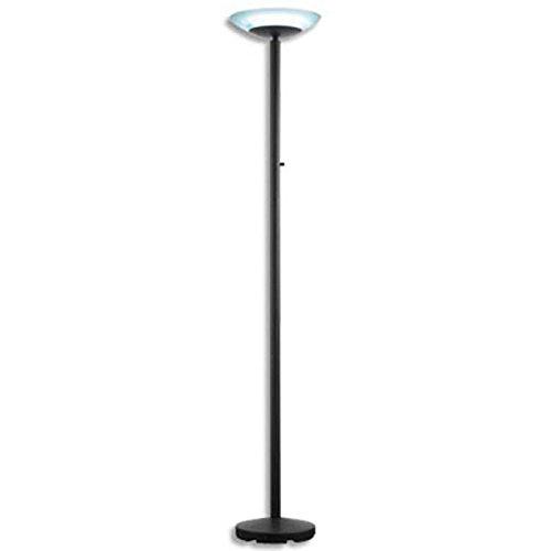 Lampadaire led paris noir métal verre ABS - Hauteur 180 cm, Tête D32 cm Socle D28 cm