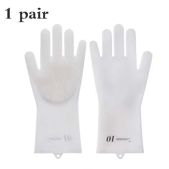 Magic Silikon Dishwashing Handschuhe Magic Silikon Handschuhe Fliegerhandschuhe Küche Werkzeug für die Reinigung, Geschirr-Wäsche, Waschen der Wagen, Haustierhahn Pflege-1 Paar,White