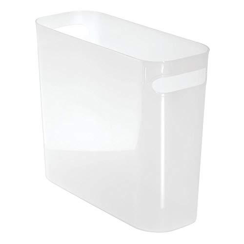 mDesign Papiermülleimer mit Griffen - moderner Mini Mülleimer für Papier - Papiereimer aus robustem Kunststoff - BHT: 27,0 x 25,5 x 13,5 cm - auch als Zeitschriftensammler geeignet - weiß