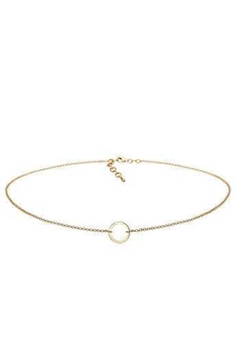 Elli Damen Schmuck Echtschmuck Halskette Kette Gliederkette Choker Kreis Geo Blogger Sterling Silber 925 Vergoldet Länge 38 cm