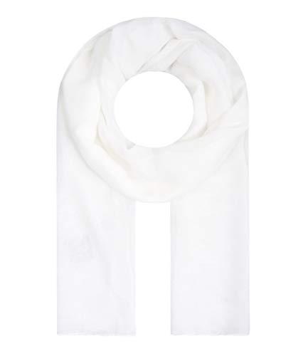 Majea Tuch Lima schmal geschnittenes Damen-Halstuch leicht uni einfarbig dünn unifarben Schal weich Sommerschal Übergangsschal, Weiß, 180cm x 50cm -