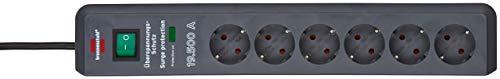 Brennenstuhl Secure-Tec, Steckdosenleiste 6-fach mit Überspannungsschutz (2m Kabel und Schalter) Farbe: anthrazit