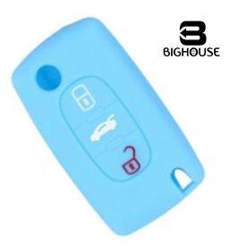 Peugeot - citroen - protezione in silicone per telecomando chiave peugeot 207 / 307 / 407 / 308 / 607 e citroen c2 / c3 / c4 / c5 / grand picasso / berlingo / c-crosser (azzurro)