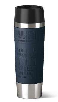 Emsa 515618 Isolierbecher (Mobil genießen, 500 ml, Quick Press Verschluss, Travel Mug Grande) blau